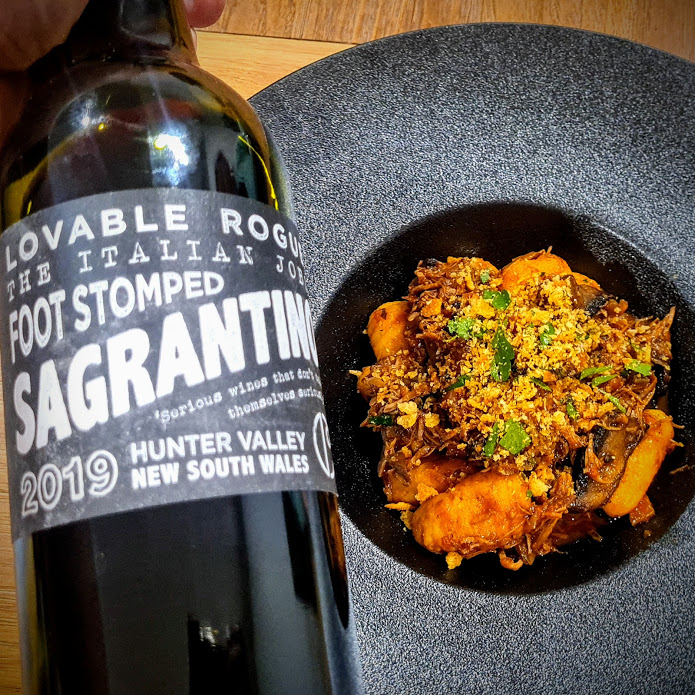 Gnocchi di Zucca Con Ragù di Agnello e Funghi - Pumpkin Gnocchi with Slow-Braised Lamb & Mushroom Ragù with Carillion Sagrantino red wine