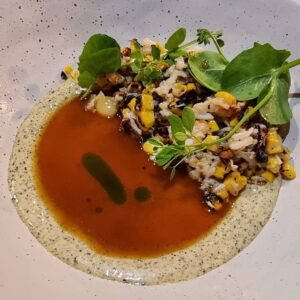 Fraser Isle Spanner Crab, with chicken skin, new corn, and beurre blanc